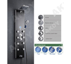 Akdy Tempered Glass Shower Panel AZ787392b Rain Style Massage System