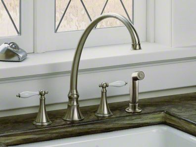Kohler Finial Traditional 4 Hole Kitchen Sink Faucet With 9 3 16