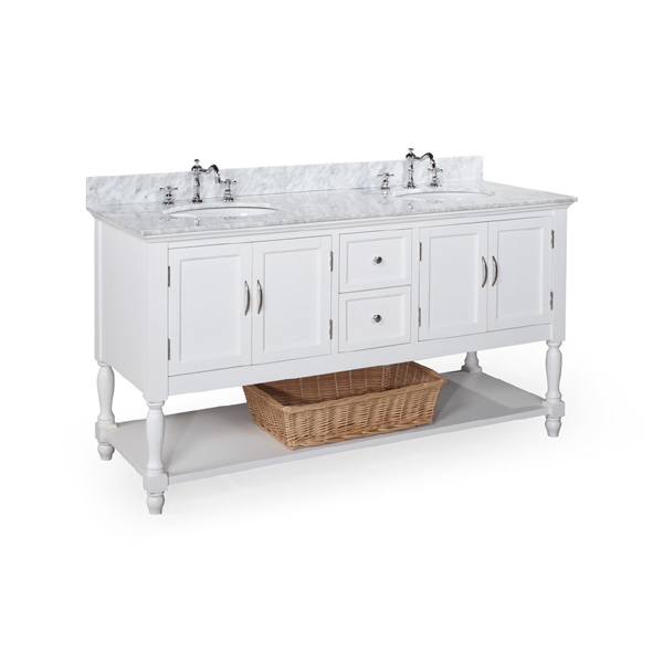 Amazing  USA Caroline 60x22 Double Sink Bathroom Vanity In White On Sale Online