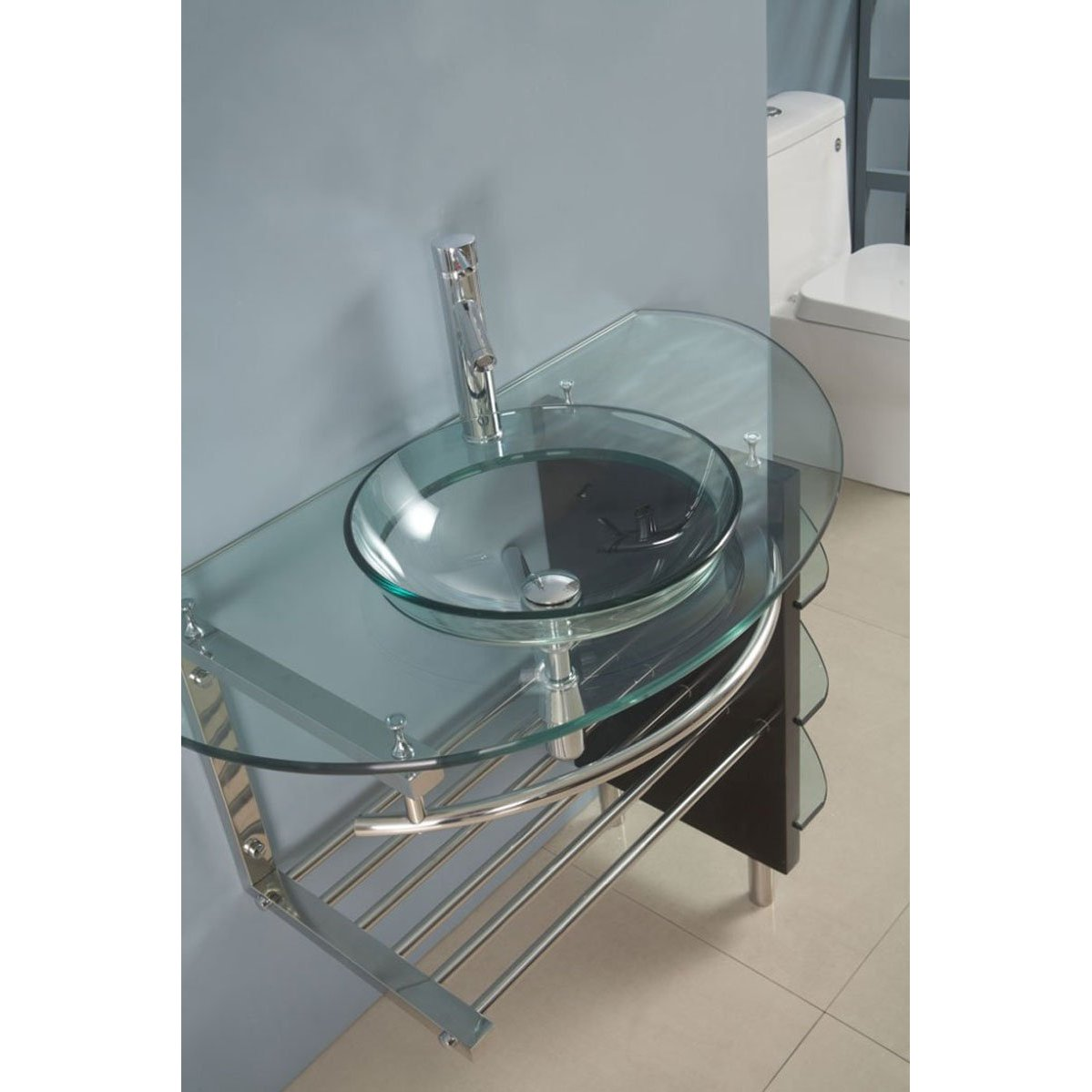 Contemporary Glass Vanity And Faucet Sink