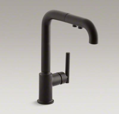 Kohler K-7505-BL Purist Single Hole Kitchen Sink Faucet with 8 ...