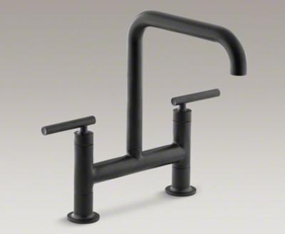 Kohler Purist K-7547-4-BL Two Hole Deck Mount Bridge Kitchen Sink ...