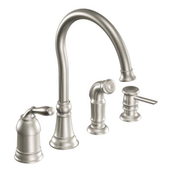 Moen Traditional Bathroom Faucet: Moen Lindley Spot Resist Stainless One-Handle High Arc