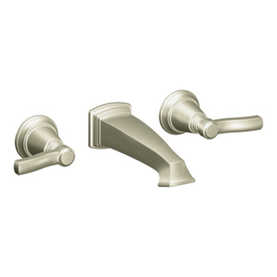 Moen Rothbury Brushed Nickel Two Handle Wall Mount Bathroom Faucet ...