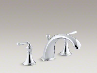 "Kohler Devonshire® deck-/rim-mount bath faucet trim for high-flow valve with 8-15/16"" diverter spout and lever handles, valve not included K-T387-4"