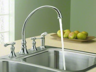 """Kohler Revival® 4-hole kitchen sink faucet with 9-3/16"""" spout, matching finish sidespray and traditional lever handles K-16109-4A"""