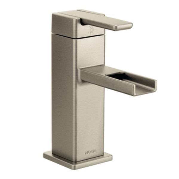 Moen 90 Degree One Handle Low - Arc Bathroom Faucet in Brushed Nickel S6705BN
