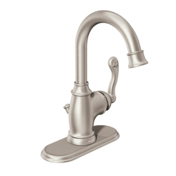 Moen Traditional One Handle High Arc Bathroom Faucet In Spot Resist Brushed