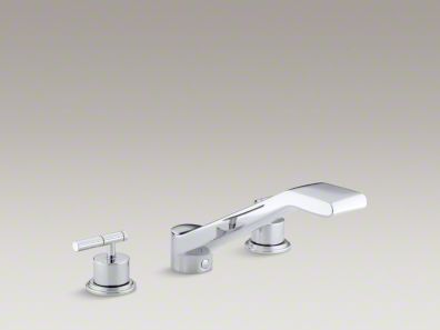 "Kohler  Taboret® deck-mount bath faucet trim for high-flow valve with 9-5/8"" bullnose non-diverter spout and lever handles, valve not included  K-T8230-4"