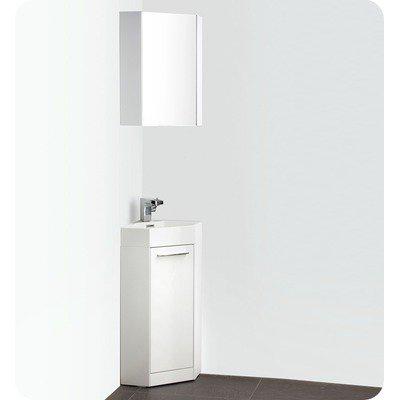 "Coda 14"" White Modern Corner Bathroom Vanity Finish / Faucet Style: Brushed Nickel / Savio"