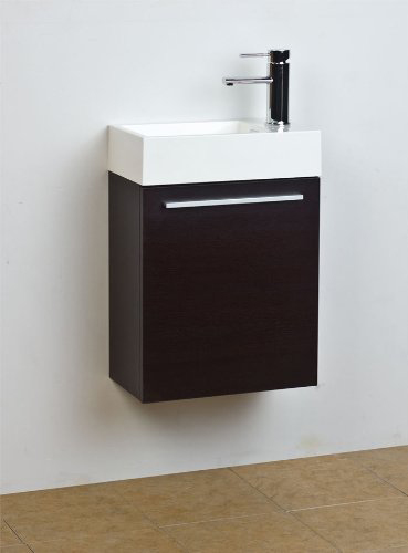 "18"" Small Wenge Modern Bathroom Vanity Set"