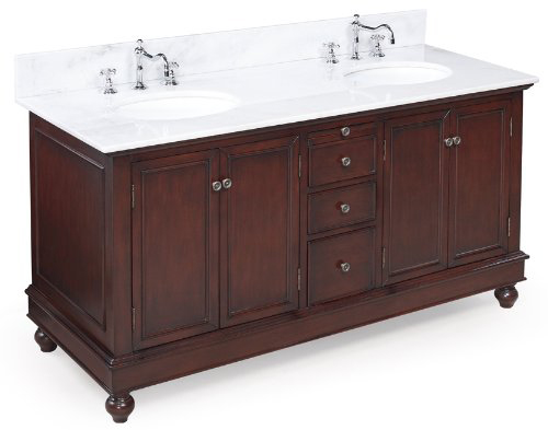 Bella 60-inch Bathroom Vanity (White/Chocolate): Includes a Chocolate Solid Wood Cabinet, Soft Close Drawers, a Marble Countertop, and Two Ceramic Sinks