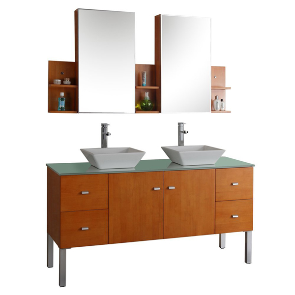 Virtu USA MD-457G Clarissa 61-Inch Wall-Mounted Double Sink Bathroom Vanity, Mirrored Cabinets and Shelves, Honey Oak Finish with Tempered Glass Countertop