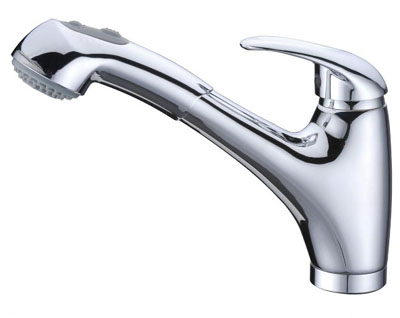 Alpha International 53-577 Chrome Pull Out Spray Kitchen Faucet