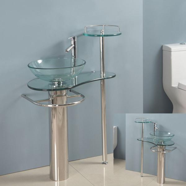 28 Inch Bathroom Vanities Pedestal Glass Sink Euro Design Bath Furniture Combo