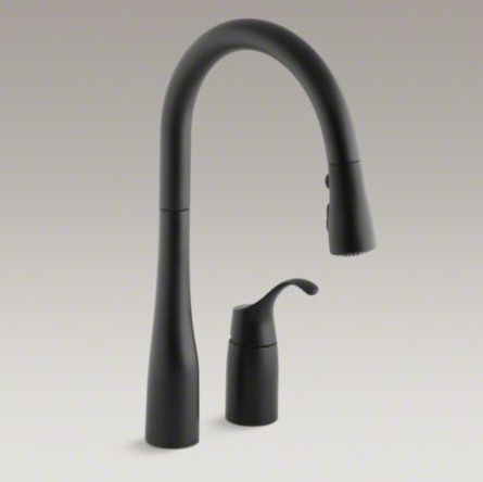 "Kohler K-647-BL Simplice Pull Down 16-1/8"" Swing Spout Kitchen Faucet - Matte Black"