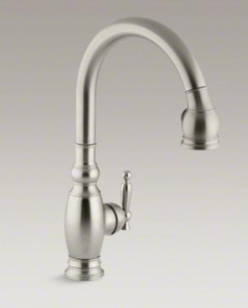 "Kohler K-690-BN Vinnata Pull Down 16-5/8"" Spout and Lever Handle Kitchen Faucet - Vibrant Brushed Nickel"