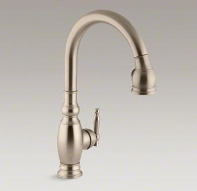 "Kohler K-690-BV Vinnata Pull Down 16-5/8"" Spout and Lever Handle Kitchen Faucet - Vibrant Brushed Bronze"