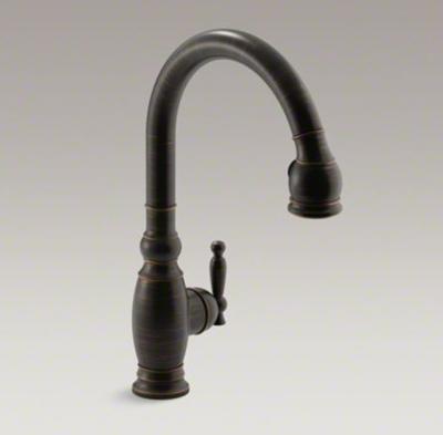 """Kohler K-690-2BZ Vinnata Pull Down 16-5/8"""" Spout and Lever Handle Kitchen Faucet - Oil Rubbed Bronze"""