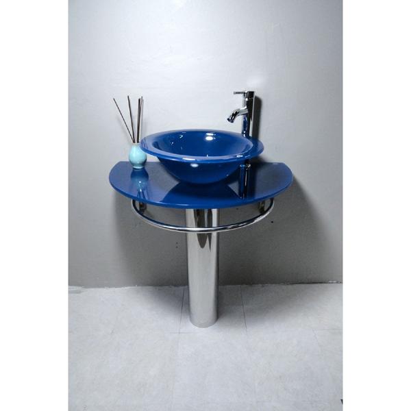 Bathroom Vanities Pedestal Glass Blue Sink Combo with Faucet
