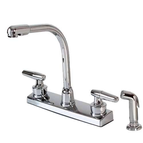 Hardware House 121927 2-Handle Hi-Rise Kitchen Faucet with Spray - Chrome