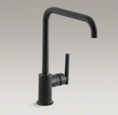 """Kohler K-7507-BL Purist Single-Hole Kitchen Sink Faucet with 8"""" Spout - Matte Black"""