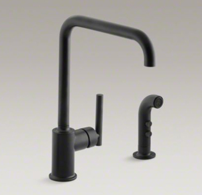 "Kohler K-7508-BL Purist Two Hole Kitchen Sink Faucet with 8"" Spout and Matching Finish Sidespray - Matte Black"