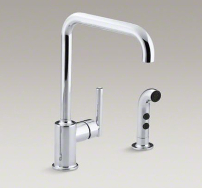 "Kohler K-7508-CP Purist Two Hole Kitchen Sink Faucet with 8"" Spout and Matching Finish Sidespray - Polished Chrome"