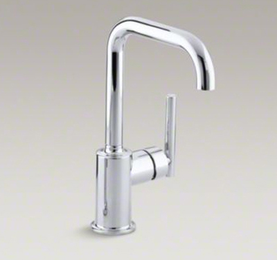 "Kohler K-7509-CP Purist Single Hole Kitchen Sink Faucet with 6"" Spout - Polished Chrome"