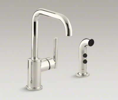 """Kohler K-7511-SN Purist Two Hole Kitchen Sink Faucet with 6"""" Spout and Matching Finish Sidespray - Vibrant Polished Nickel"""