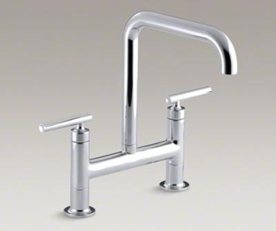 """Kohler K-7547-4-CP Purist Two Hole Deck Mount Bridge Kitchen Sink Faucet with 8-3/8"""" Spout - Polished Chrome"""