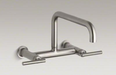 "Kohler K-7549-4-VS Purist Two Hole Wall Mount Bridge Kitchen Sink Faucet with 13-7/8"" Spout - Vibrant Stainless"