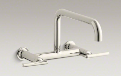"Kohler K-7549-4-SN Purist Two Hole Wall Mount Bridge Kitchen Sink Faucet with 13-7/8"" Spout - Vibrant Polished Nickel"