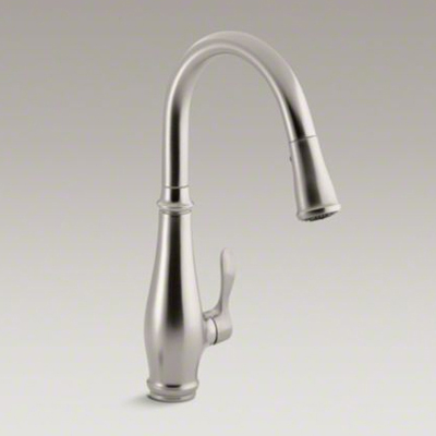 """Kohler K-780-VS Cruette Single Hole or Three Hole Kitchen Sink Faucet with Pull Down 7-7/8"""" Spout and Lever Handle - Vibrant Stainless"""