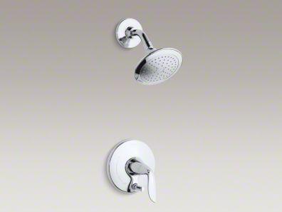 Kohler Refinia® shower trim set with push-button diverter and lever handle for Rite-Temp® pressure-balancing valve K-T5319-4