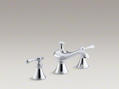 "Kohler Revival® bath-mount bath faucet trim for high-flow valve with 6-5/8"" spout, traditional lever handles, valve not included K-T16122-4A"