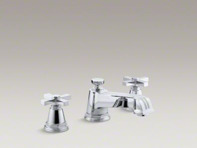 Kohler Pinstripe® deck-mount bath faucet trim for high-flow valve with cross handles, valve not included K-T13140-3B