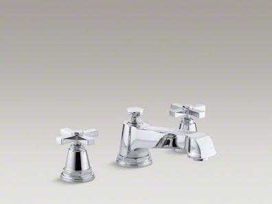 Kohler Pinstripe® Pure deck-mount bath faucet trim for high-flow valve with cross handles, valve not included  K-T13140-3A
