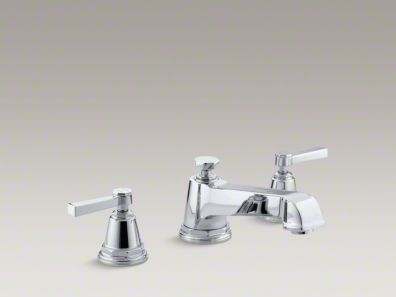 Kohler Pinstripe® Pure deck-mount bath faucet trim for high-flow valve with lever handles, valve not included K-T13140-4A