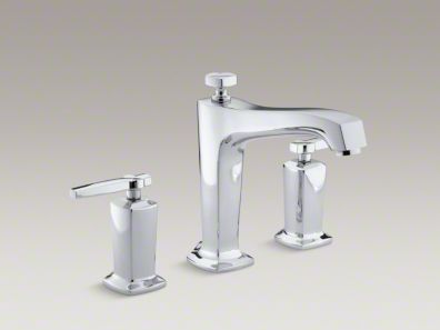 Kohler Margaux® deck-mount bath faucet trim for high-flow valve with non-diverter spout and lever handles, valve not included K-T16237-4