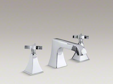 Kohler Memoirs® Stately deck-mount bath faucet trim with non-diverter spout and cross handles, valve not included K-T469-3S