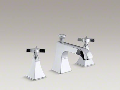Kohler Memoirs® Stately deck-mount bath faucet trim for high-flow valve with diverter spout and cross handles, valve not included K-T428-3S