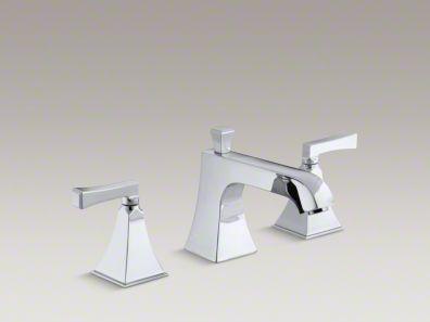 Kohler Memoirs® Stately deck-mount bath faucet trim for high-flow valve with diverter spout and Deco lever handles, valve not included K-T428-4V