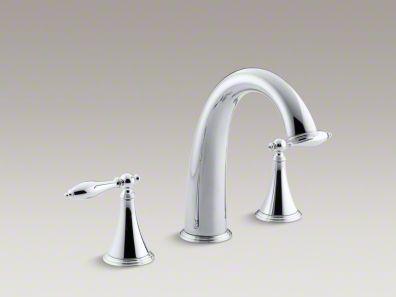 Kohler Finial® Traditional deck-mount bath faucet trim for high-flow valve with lever handles, valve not included  K-T314-4M