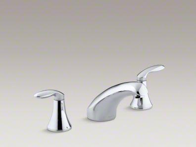 """Kohler Coralais® rim-mount bath faucet trim with 5-1/2"""" spout and lever handles, valve not included  K-T15294-4"""