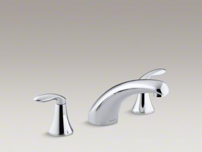 "Kohler Coralais® deck-mount bath faucet trim with 8"" spout and lever handles, valve not included K-T15290-4"
