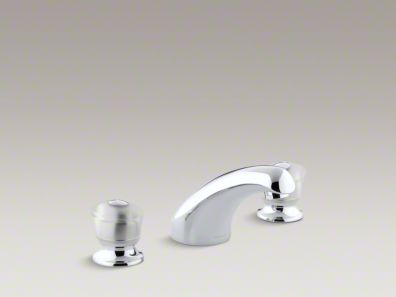 "Kohler Coralais® rim-mount bath faucet trim with 5-1/2"" spout and sculptured acrylic handles, valve not included K-T15294-7-CP"