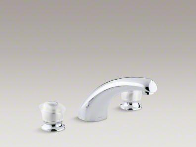 "Kohler Coralais® deck-mount bath faucet trim with 8"" spout and sculptured acrylic handles, valve not included K-T15290-7-CP"