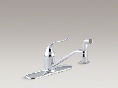 """Kohler Coralais® Three-hole kitchen sink faucet with 8-1/2"""" spout, matching finish sidespray and lever handle K-15172-F"""
