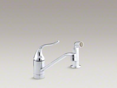 "Kohler Coralais® Two-hole kitchen sink faucet with 8-1/2"" spout, matching finish side-spray and lever handle K-15176-F"